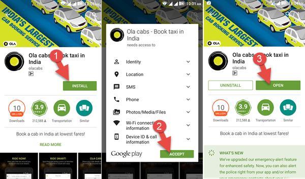 फ़ोन के 'प्ले स्टोर' या 'एप स्टोर' में जा कर डाउनलोड करें OLA ऐप